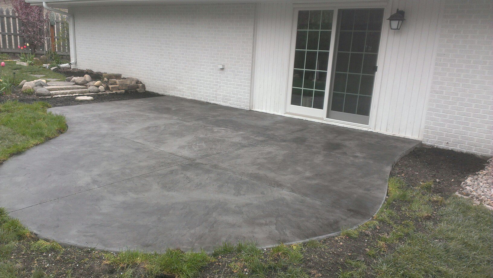 Elegant New Stamped Patio With Pewter Base And Medium Gray Release Colors.